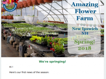 Amazing Flower Farm Newsletter Spring 2018