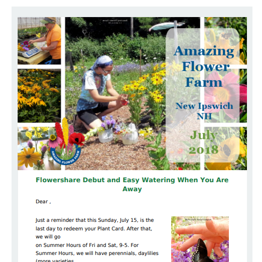 Flowershare Debut and Easy Watering When You Are Away – July 2018 Newsletter